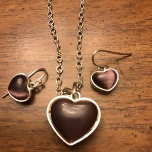Necklace and earring set- Purple Hearts